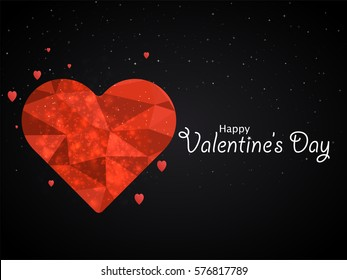 Happy valentines day love greeting card with hart polygon design in red low poly style and label decoration. EPS10 vector.