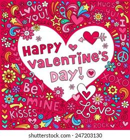 Happy Valentine's Day Love Heart School Notebook Doodles Vector Illustration Design