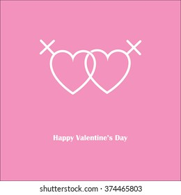 Happy Valentine's Day Love lesbian pink card