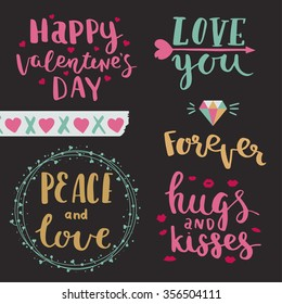 Happy valentines day. Love you. Peace and love. Forever. Hugs and kisses. Vector photo overlays of valentines day, hand drawn lettering collection.