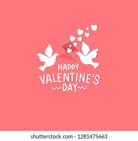 Happy Valentine's Day lovely cartoon greeting card  with heart creative on pink red background, Vector illustration birds