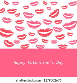 Happy Valentine's Day! Lovely greeting card with girl's pink lips. Smile, open mouth with white teeth. Vector illustration.