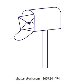 happy valentines day, mailbox mail envelope messsage letter cartoon vector illustration line style