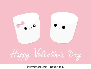 Happy Valentines Day. Marshmallows with eyes and smiles. Funny face. Cute cartoon character. Love sign symbol. Minimal flat lay design. Marshmallow couple set. Sweet food. Pink background. Vector