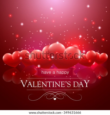 Happy Valentines Day Message Floating Hearts Stock Vector Royalty