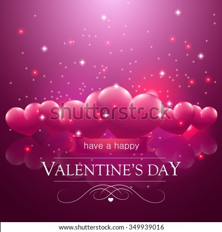 Happy Valentines Day Message Pink Floating Stock Vector Royalty