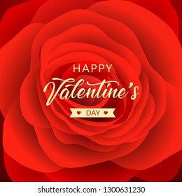 Happy Valentine's Day message red rose background design, vector illustration