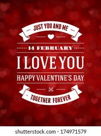 Happy Valentine's day message vintage retro vector background.