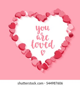 Happy Valentine's Day. Modern calligraphy style handwritten lettering with pink and red hearts candy frame. Vector illustration for cards, leaflets or banners on pink background.
