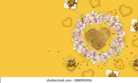 Happy Valentine's Day or Mother's day card. Yellow Greeting card. Festive gifts box. Romantic banner.