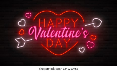 Happy Valentine's Day neon background. Color card design with 3d glowing neon letters, arrow and hearts. Vector illustration with light banner.
