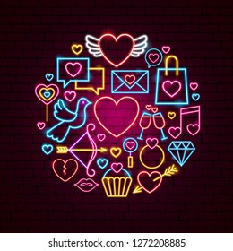 Happy Valentines Day Neon Concept. Vector Illustration of Love Promotion.