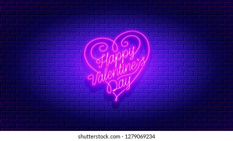 Happy Valentine's Day neon flyer. Vector romantic color card design with 3d glowing neon letters and hearts. Vector illustration with light banner. Invitation to nightclub. Easy editable post card.