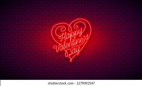 Happy Valentine's Day neon flyer. Vector romantic color card design with 3d glowing neon letters and hearts. Vector illustration with light banner. Easy editable for Your post card.