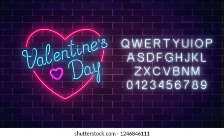 Happy Valentines Day neon glowing festive sign in heart shape with alphabet on a dark brick wall background. Greeting card with love. Holiday greeting card with lettering. Vector illustration.