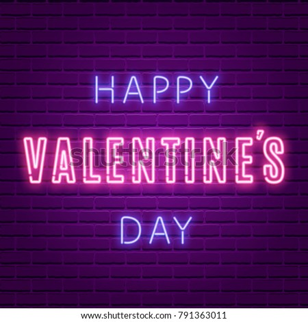happy valentines day neon glowing text stock vector royalty free