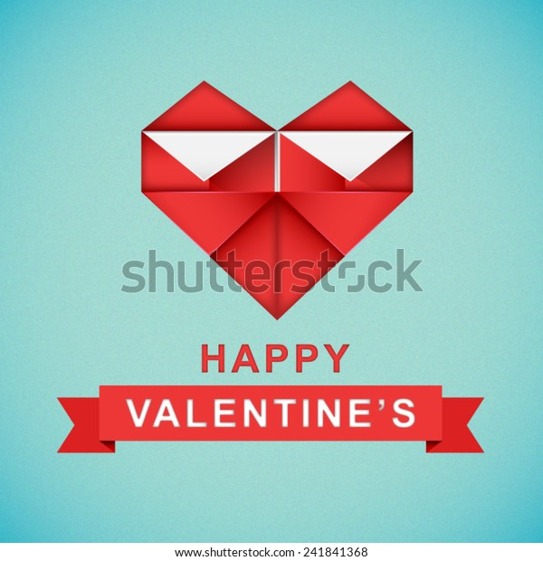 Paper art of happy valentine's day background origami heart shape ... | 620x600