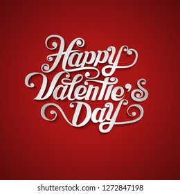 Happy Valentine's Day paper cut design card template. Creative typography for holiday greetings. Vector illustration.