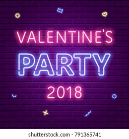 Happy Valentine's Day Party 2018. Neon glowing text, memphis elements. 80s Retro banner template. Vector illustration. Invitation, poster, flyer, wallpaper design.