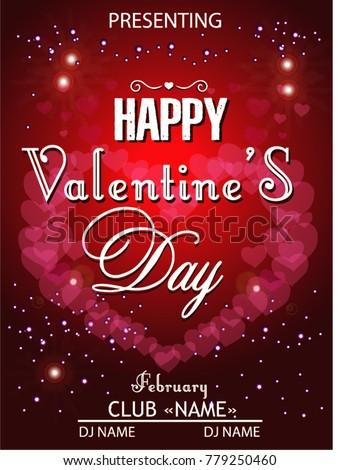 Happy Valentines Day Party Stock Vector Royalty Free 779250460