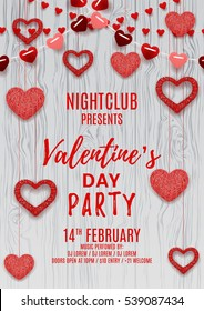Happy Valentine's Day party flyer. Romantic composition with garlands from paper. Beautiful backdrop with heart from threads on wooden texture. Vector illustration. Invitation to nightclub.