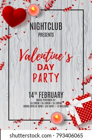 Happy Valentine's Day Party Flyer. Top view on gift box and case for ring on Wooden Texture. Vector illustration with candles and confetti. Invitation to nightclub.