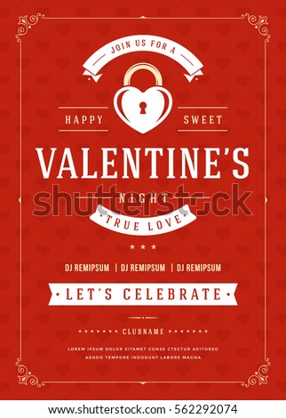 Happy Valentines Day Party Invitation Poster Stock Vector Royalty