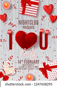 Happy Valentine's Day party poster. Vector illustration with 3d sliced and spiraled paper in the shape of letters on wooden texture. Top view on red serpentine, confetti, gift boxes, case for ring.