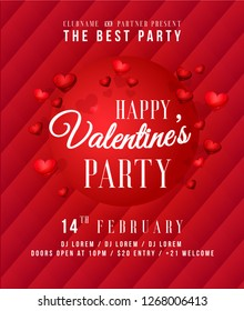 Happy Valentines Day Party Poster. Template of invitation, flyer, poster or greeting card. - Vector
