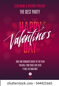 Happy Valentines Day Party Poster. Template of invitation, flyer, poster or greeting card.