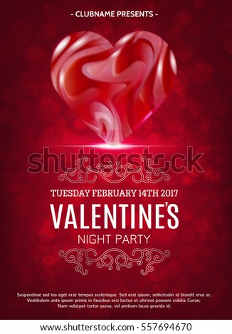 Happy Valentines Day Party Poster Design Stock Vector Royalty Free