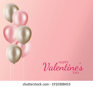Happy valentines day pink background with pink and golden balloons vector illustration. Valentine's day with copy space background.