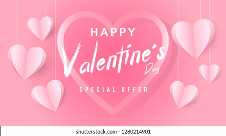 Happy Valentine's Day, Pink hearts background, Special offer, Sale banner, Valentine's Day vectors