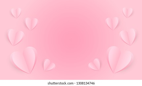 Happy Valentine's Day, Pink hearts on pink background, Valentine's Day vectors