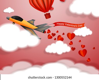 Happy Valentines day, plane flying and scatter heart in the sky, valentine's day concept, vector art and illustration, Plane sending love message - Vector