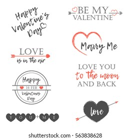 Happy Valentine's Day Postcard. Set Of Calligraphic Quotes. Hand Lettering grey and pink Text Isolated On White Background. Vector Illustration