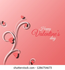 Happy valentines day poster, card, wallpaper and pink background floral design.