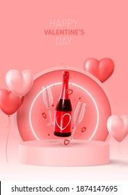 Happy Valentine's Day poster. Holiday background with red and pink ballon, neon circle, round stage, realistic champagne bottle, glasses and confetti. Vector illustration with 3d rednder object.