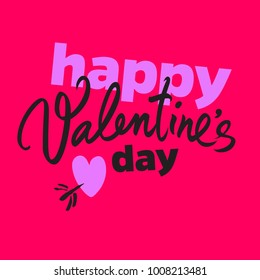 Happy Valentine's Day poster in Pop Art comic style. Handwritten lettering. Black calligraphic text with heart pierced by arrow isolated bright red background. Holidays typography vector illustration.