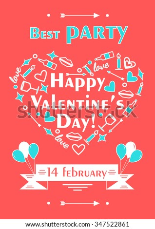 Happy Valentines Day Poster Romantic Vector Stock Vector Royalty