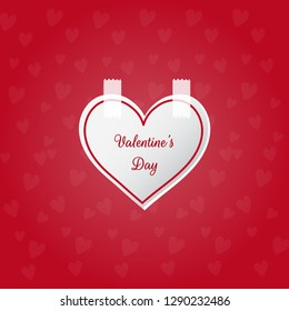 Happy valentines day poster, wallpaper and card design vector illustration with red background and heart shape.
