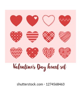 Happy Valentine's day pretty hearts set