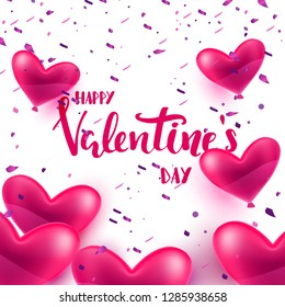 Happy Valentines day quote, heart shape balloons floating on transperent background, Valentines day template