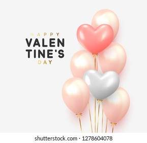 Happy Valentines Day. Realistic Balloons group in shape heart with gold ribbon. 3d ballon isolated on white background. Romantic poster, greeting cards, headers, website.