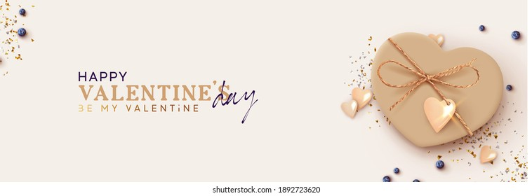 Happy Valentine's Day. Realistic heart shaped gift box, blue Blueberries. beige present gift. Horizontal template poster, greeting card, headers for website. flat top view. Vector illustration