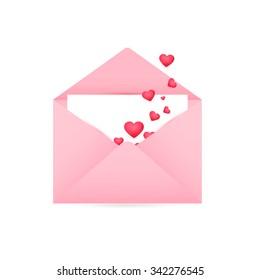 Happy Valentine's Day, Realistic Mail Envelope