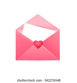Happy Valentine's Day, Realistic Mail Envelope vector