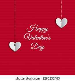 Happy valentines day red background with heart shape hanging. Card, poster and wallpaper design.