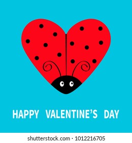 Happy Valentines Day. Red flying lady bug insect in shape of heart. Black dot pattern. Cute cartoonfunny kawaii baby character. Love greeting card. Blue background. Flat design. Vector illustration