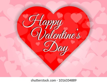 Happy valentines day red heart shape abstract background.